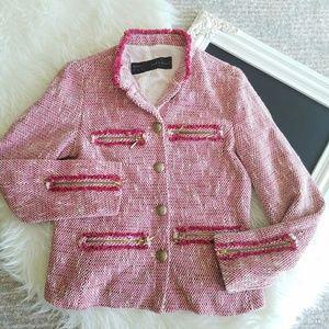 Zara Basic | Pink Tweed Blazer Jacket Small
